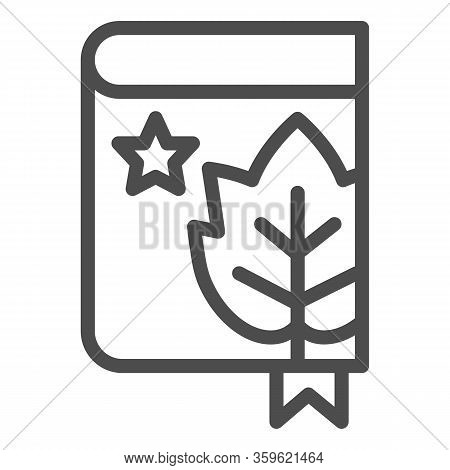 Book With Grape Leaf And Bookmark Line Icon. Notes Of Grapes Growing Outline Style Pictogram On Whit