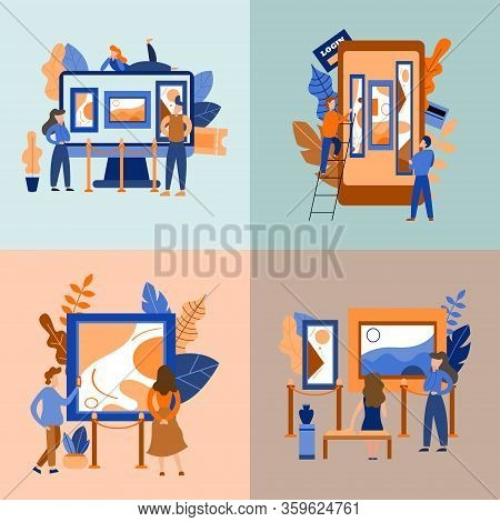Set Of Concepts. Mobile Museum Guide Application. Interactive Exhibition. Virtual Art Gallery Tours.