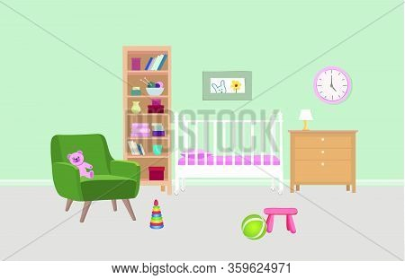 Bedroom Interior Background. Baby Bed-room Colored Art. Kid Room Furniture Design.