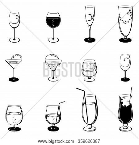 Vector Set Of Isolated, Abstract, Stylized Outline Stemware And Glasses On White Background. Illustr