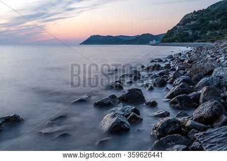 Scenic Sunset Landscape Of Rocky Black Sea Coast By Bolshoy Utrish Village, Anapa, Russia.