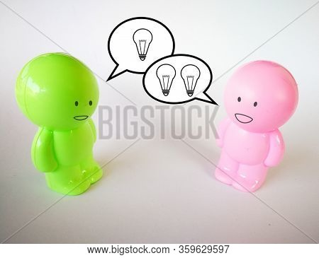 Two person talk about ideas