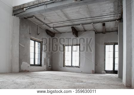 The Apartment Is Under Construction And Renovation. Unfinished Apartment Interior. Unfinished Repair