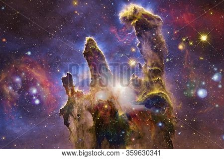 Nebulae And Stars In Outer Space, Glowing Mysterious Universe. Elements Of This Image Furnished By N