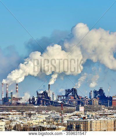 Poor Environment In The City. Environmental Disaster. Harmful Emissions Into The Environment. Smoke
