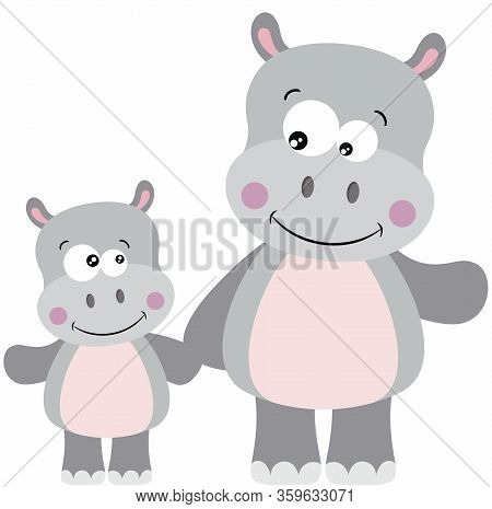 Scalable Vectorial Representing A Cute Hippo And Baby Hippo, Element For Design, Illustration Isolat