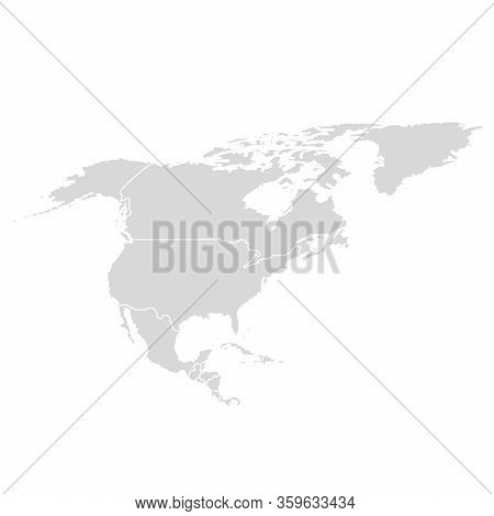 North America Vector Map. Usa Canada Mexico World Map Icon, American Continent