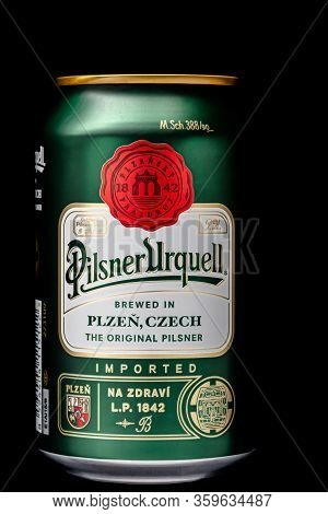 St. Petersburg, Russia, February 07, 2020. Pilsner Urquell Beer, Metal Can, On A Black Background Is