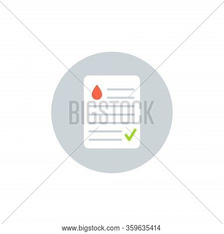 Blood Test Result Lab Report Health Vector Icon. Medical Checklist Patient Paperwork, Blood Test