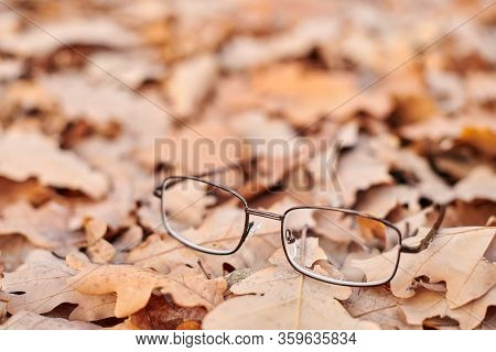 Glasses On Autumn Foliage. Lost Glasses As Symbol Of Sudden Vision Loss. Vitamin Deficiency With Age