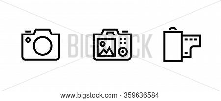 Set Photo And Video Camera Icon. Slr, Digital Pro And Film Roll Symbol. Editable Line Vector.