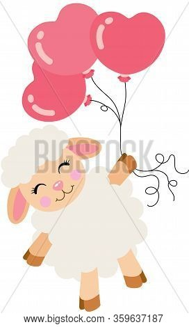 Scalable Vectorial Representing A Cute Lamb Flying With Heart Balloons, Element For Design, Illustra