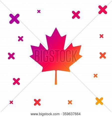 Color Canadian Maple Leaf Icon Isolated On White Background. Canada Symbol Maple Leaf. Gradient Rand
