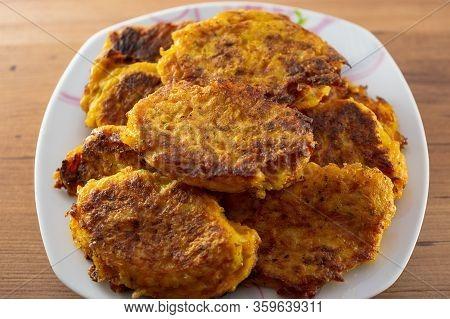 Potato Pumpkin Burgers, Pancakes. Studio Photo Cooking