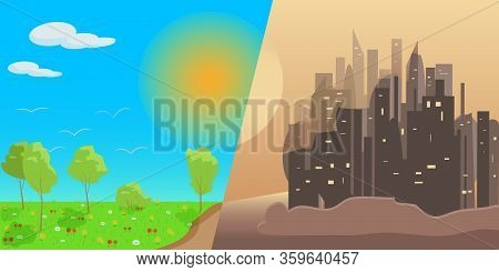 Banner Depicting Sunny Nature Contrasted With A Brown Scorched City. The Sun Over A Green Meadow Wit