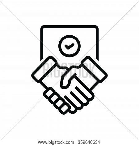 Black Line Icon For Settlement Partnership Commitment Agreement Deal Handshake Cooperation Business