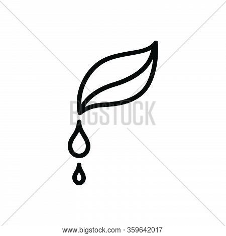 Black Line Icon For Pure Droplet Water Clean Drinkable Fresh Beverage Nature Drop Leaf