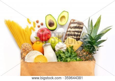 A Completely Paper Bag With Various Healthy Products.healthy Food Background.supermarket Food Concep