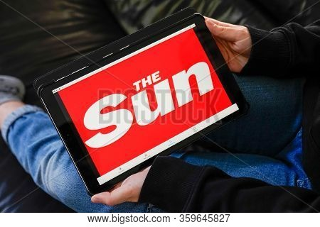 Bordeaux , Aquitaine / France - 11 27 2019 : The Sun Screen Tablet Of Tabloid British Best-selling N