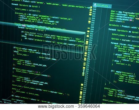 Php In Code Editor, Close Up. Programming Concept. Web Developing On The Php Language