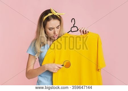 Find And Remove Stain On Clothes. Housewife With Magnifier, Free Space
