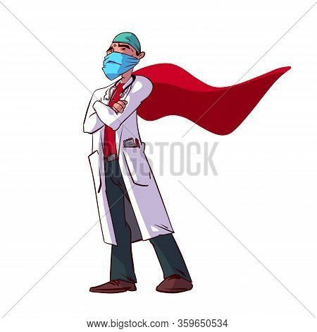Colorful Vector Illustration Of A Male Doctor Superhero With A Cape