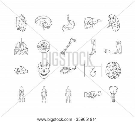 Artificial Limb Black Line Icons Set. Prosthetic Implants Of Different Organs And Parts Of Body. Edi
