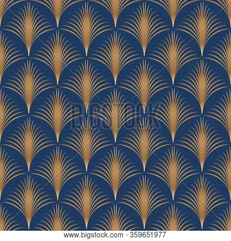 Abstract Geometric Pattern With Art Deco Thin Gold Lines. Seamless Linear Rapport Vector Background.