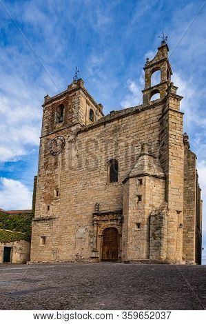 Saint Matthew Church, Iglesia De San Mateo In Caceres, World Heritage City, Awarded By Unesco. Extre