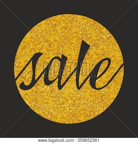 Sale Vector Sign On Golden And Black Background