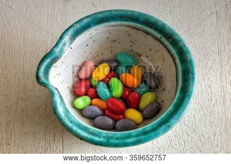 Bowl Of Rainbow Colored Jellybeans