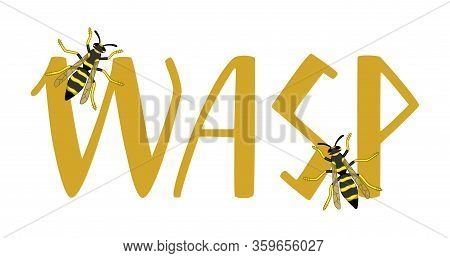 Wasp Lettering With Two Little Wasps Decoration Isolated Illustration