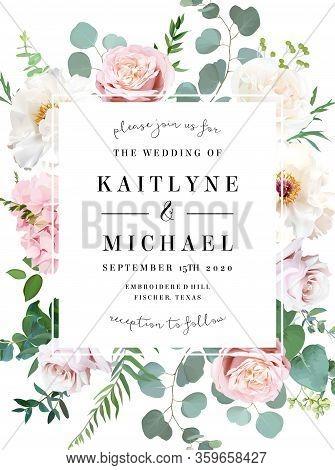 Elegant Wedding Card With Spring Flowers. White Ivory Peony, Dusty Pink Blush Rose, Hydrangea, Eucal
