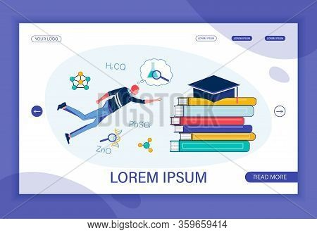 Penetrating Secret Chemistry. Boy Student Swimming In Deep Sea Towards Book Pile With Academic Cap O