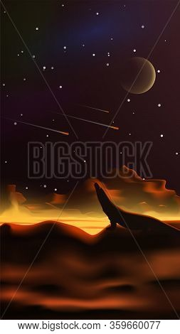 Fantastic Space Landscape In The Style Of Realism. Lava River. Planet In The Sky. Silhouette Of A Li