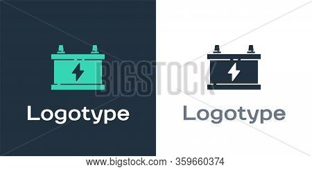Logotype Car Battery Icon Isolated On White Background. Accumulator Battery Energy Power And Electri