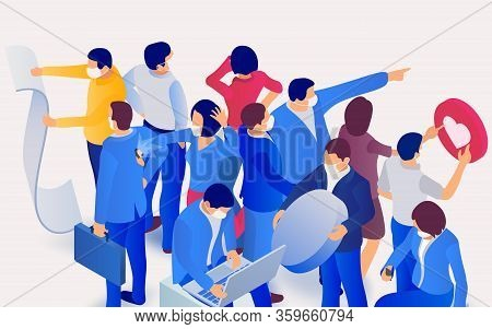 Coronavirus In World (2019-ncov). People Work And Relax During A Pandemic. Group Of People Wearing P