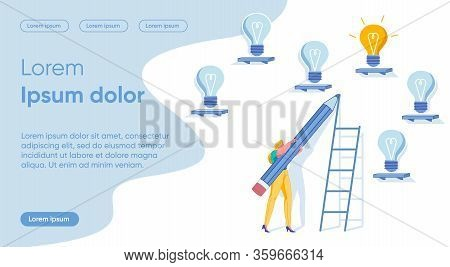Choosing Best Idea For Business. Business Woman, Entrepreneur Cartoon Character Looking For Suitable