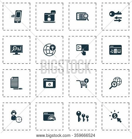 Business Icons Set With Assistance, Sort Keywords, Global Solution And Other Navigation Elements. Is
