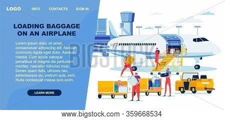 Loading Baggage On Airplane From Special Trolley. Airline Employee Manually Transfer Clients Luggage