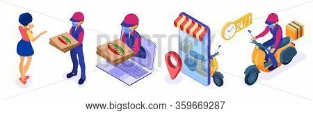 Secure Online Food Order And Package Delivery Service Food Shipping Isometric Courier In Mask Pandem