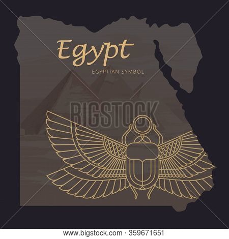 Vector Map Of Egypt With A Background Illustration Of The Pyramids And The Image Of A Scarab Beetle