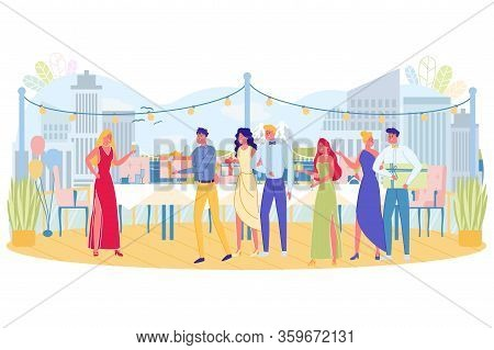 Gift Presentation To Honor Guest, Illustration. Festivities On Building Roof, Decorated With Light B