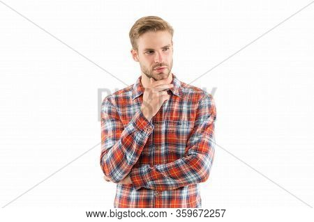 Unshaven And Unspoiled. Unshaven Guy Isolated On White. Handsome Man With Unshaven Face. Bachelor In