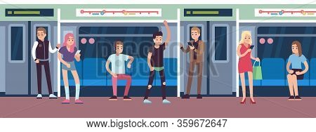 People In Subway. Urban Underground Mass Transit With Female, Male Characters, Public Transport Subw