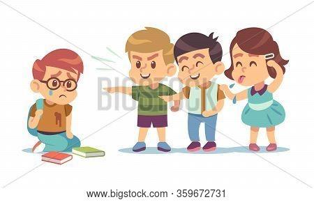 Kids Bullying. Humiliation, Mocking Classmates. Discrimination, Abuse And Negative School Communicat
