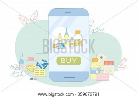 Online Pharmacy In Electronic Device, Illustration. Pharmaceuticals, Tablets, Pills, Spray, Pharmacy