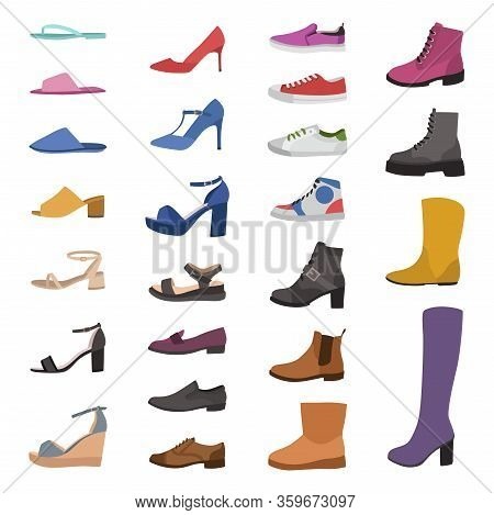 Shoes And Boots. Various Types Footwear, Mens, Womens And Childrens Trendy Casual, Stylish Elegant A