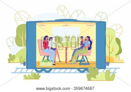 People Ride In Suburban Train, Vector Illustration. Women Ride In Train, Sit At Table, Talk And Drin