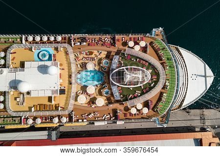Sun Lounger At Deck Stern. Summer Vacation Cruise Travel Tourism Concept. Ship Cruise Liner Deck Blu